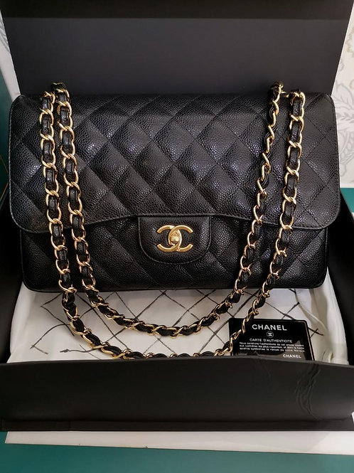 #21 LNIB Chanel Jumbo Classic Double Flap Black Caviar with GHW