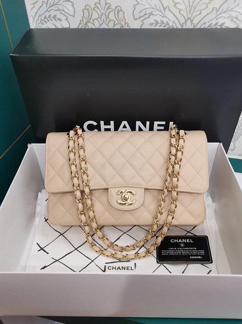 #14 BNIB Chanel Medium Classic Double Flap Beige Caviar GHW