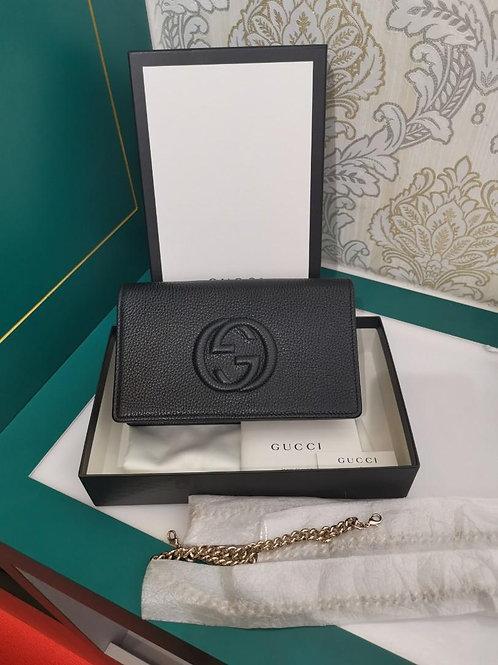 BNIB Gucci 598211 SOHO BLACK LEATHER WOC CROSSBODY