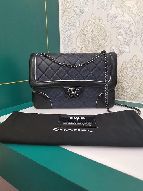 #21 Chanel Flap Medium Navy/Blk/Silver Lamb/Sheepskin RHW