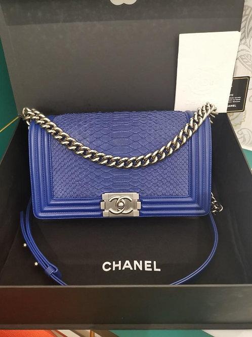 #20 LNIB Chanel Boy Old Medium Blue Python/Calf MSHW