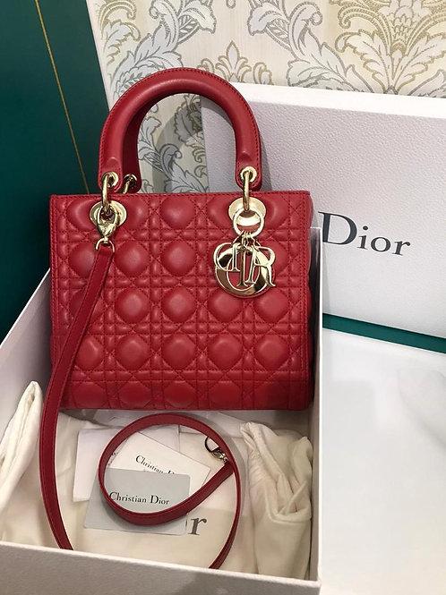 LNIB Lady Dior Medium Red Lamb GHW