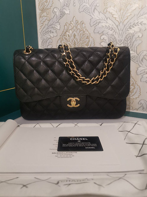 #18 Almost New Chanel Jumbo Classic Double Flap Black Caviar with GHW