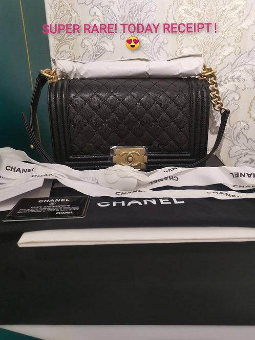 #28 Full set Today Receipt ✨BNIB Chanel Boy Old medium Caviar with GHW