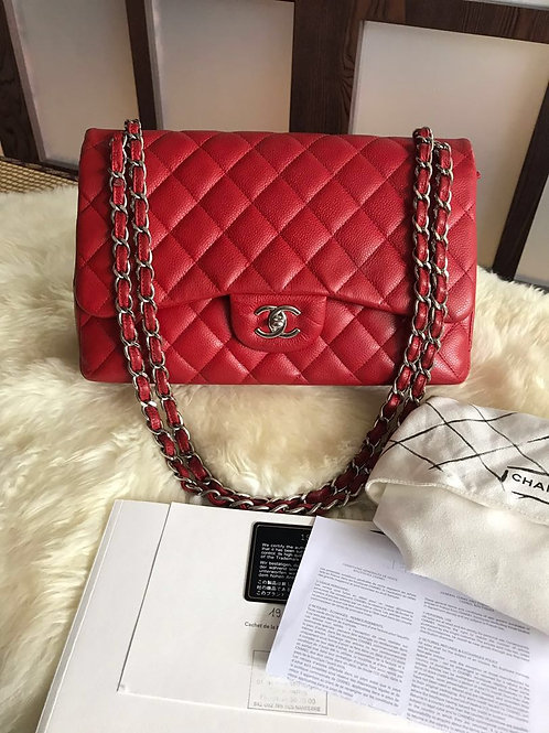 #19 Like New Chanel Jumbo Classic Double Flap Red Caviar With SHW