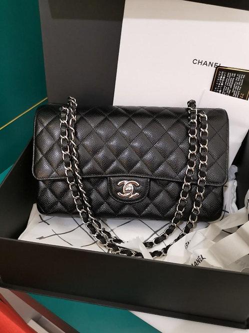 #22 LNIB Chanel Medium Classic Double Flap Black Caviar with SHW
