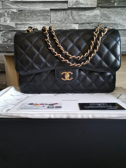 #26 BNIB Chanel Jumbo Classic Flap Black Caviar with GHW