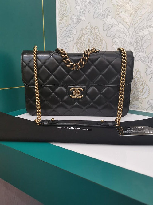 #20 Brand New Chanel Perfect Edge Large Black Distressed Calf with Aged GHW