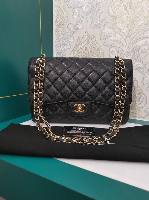 #16 Chanel Jumbo Classic Double Flap Black Caviar with GHW
