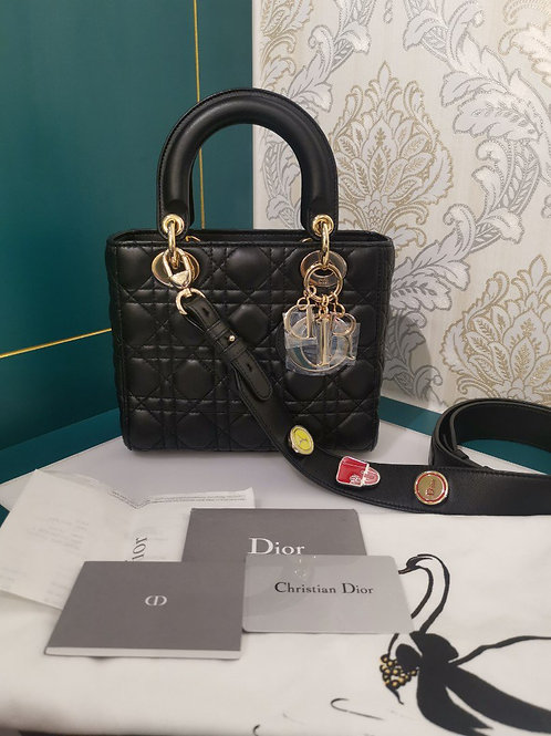 Brand New Lady Dior Small Black Lambskin with GHW