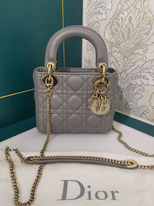 Brand New Lady Dior Mini Lambskin Grey with Chain Strap in GHW