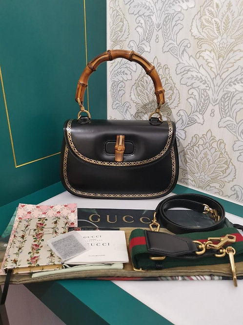 Brand New Gucci Borsa Bamboo Calf Black with aged GHW
