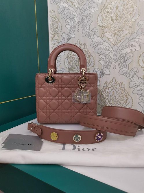 Brand New Lady Dior Small Blush/Milk Tea Lamb with light GHW
