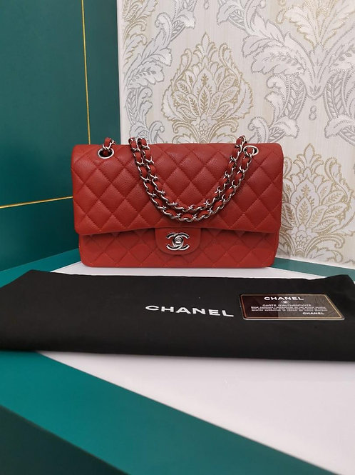 #14 Like New Chanel Medium Classic Double Flap Rust Caviar with SHW