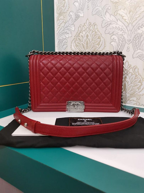 #19 Brand New Chanel Boy New Medium/Large Red Caviar with RHW