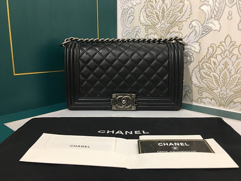 #25 Like New Chanel Boy Black Calfskin with RHW