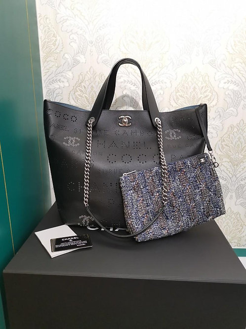 #27 LNIB Chanel logo eyelets Shopping Tote Black Calf with SHW