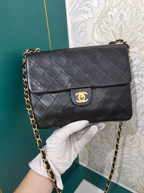 Chanel Vintage Mini Square Flap Black Lamb 24K GHW