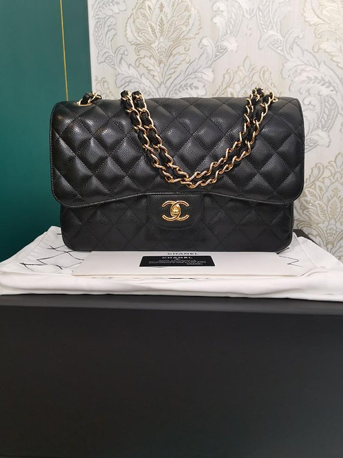 #26 LNIB Chanel Jumbo Classic Double Flap Black Caviar GHW