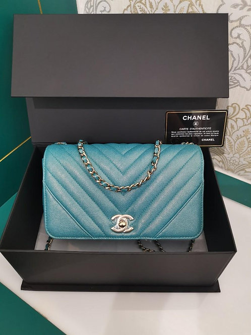#28 BNIB Chanel Statement Flap Mini Caviar Turquoise Light GHW
