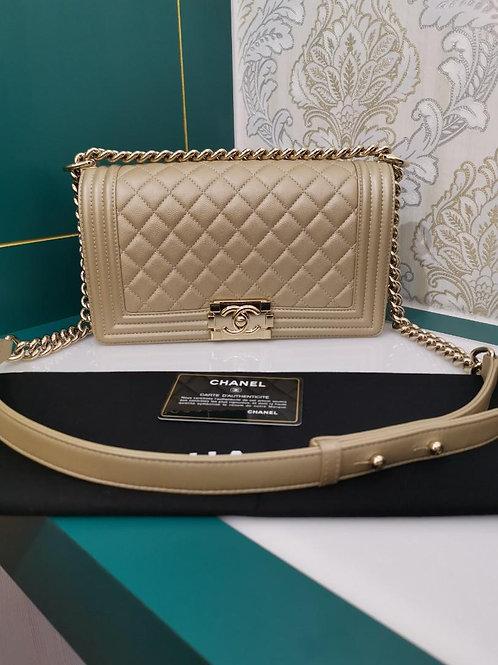 #23 Like New Chanel Boy Old medium Gold Caviar with GHW