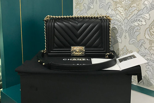 #23 BNIB Chanel Boy Old Medium Black Calfskin with GHW