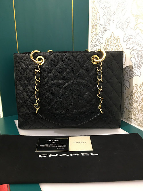 Amlost New Chanel GST Black Caviar with GHW