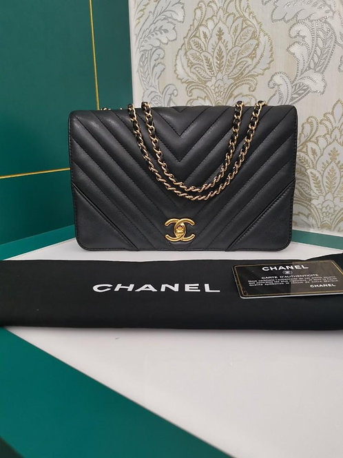 #24 Chanel Statement Flap Small Black Calf GHW