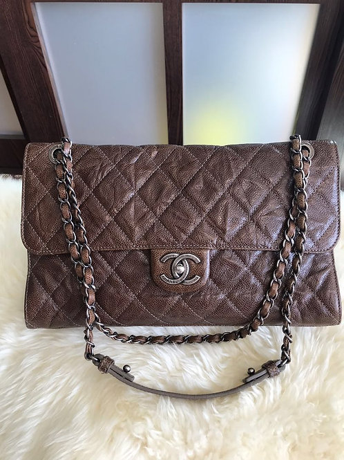 Chanel Jumbo CC Crave Single Flap Distressed Caviar Brown With Rhw