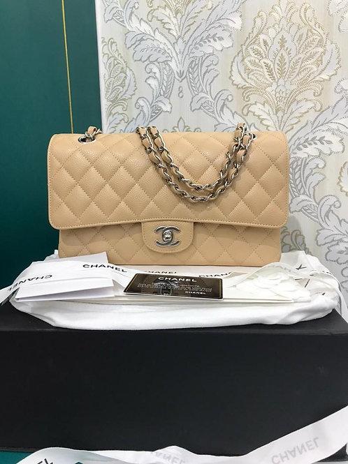 #25 BNIB Chanel Medium Classic Double Flap Beige caviar SHW