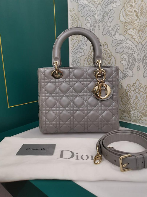 Like New Lady Dior Medium Pearly Grey Lamb with light GHW
