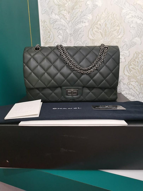 #13 Chanel Reissue 2.55 227 Olive Green Lamb RHW