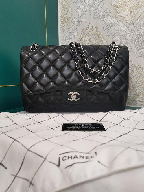 #15 Chanel Jumbo Double Flap Black Lamb SHW