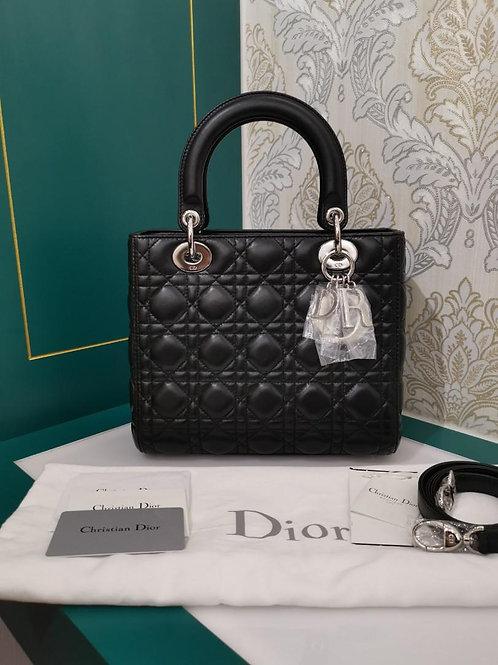 Brand New Lady Dior Medium Black Lamb with SHW
