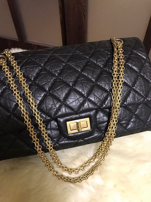 Like New Chanel 2.55 Reissue 227 Distressed Calfskin Black With Ghw