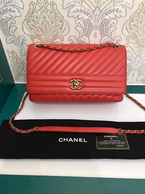 #22 Excellent Chanel Single Flap Jumbo Orange Red Calf with Aged GHW