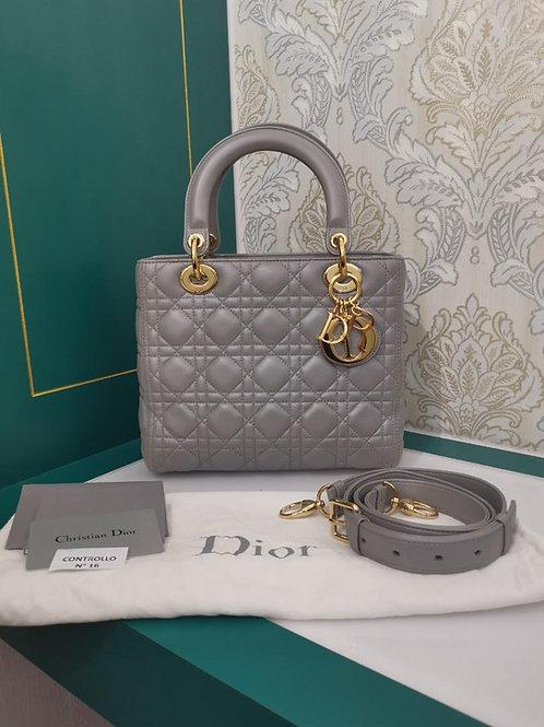 Like New Lady Dior Medium Pearly Grey Lamb GHW