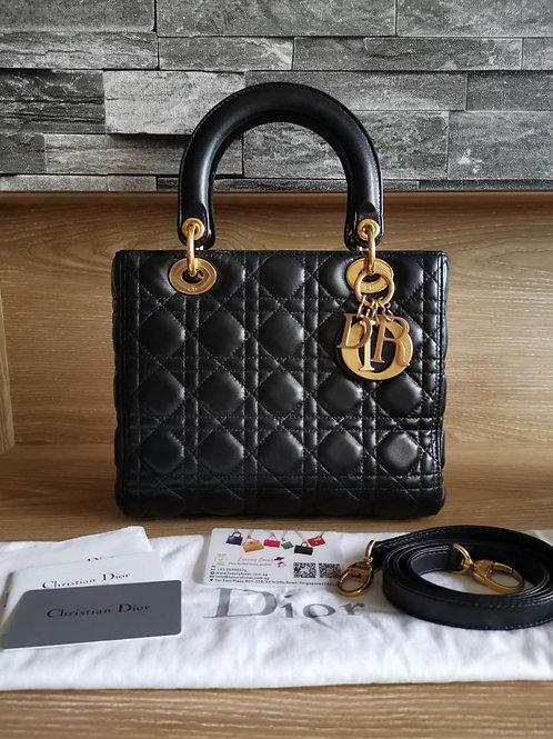 Excellent Lady Dior Medium Black Lamb with GHW