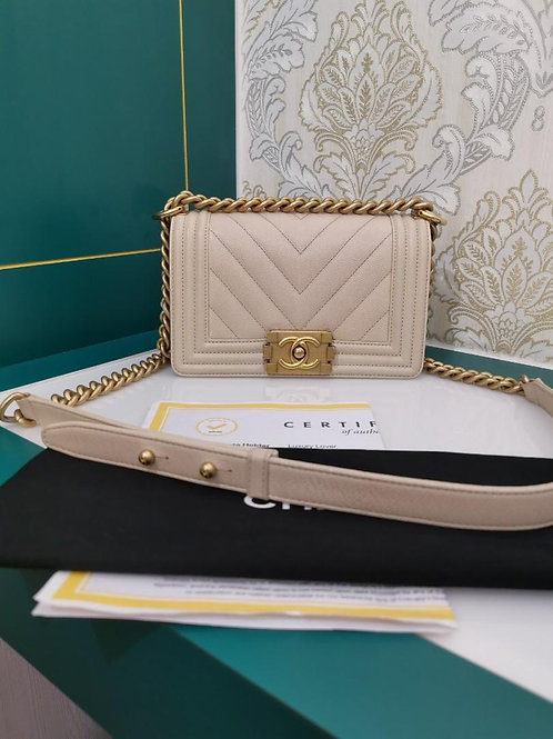 #25 Excellent Chanel Boy Small Chevron Caviar Beige with GHW