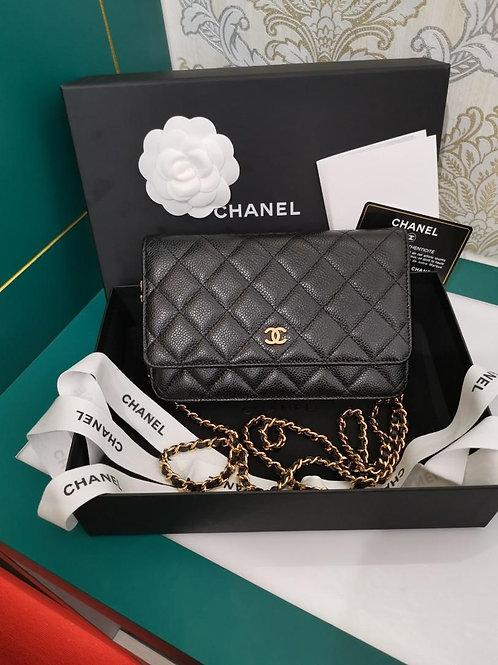 #28 LNIB Chanel woc Black caviar GHW