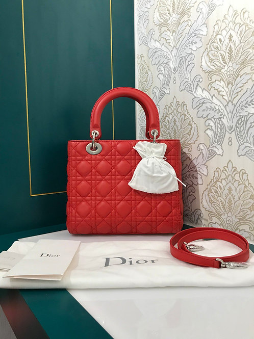 Brand new Lady Dior medium Red lamb with SHW