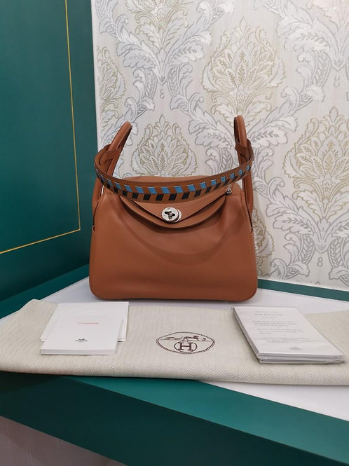 Brand New Hermes Tressage Lindy 26 Gold Swift