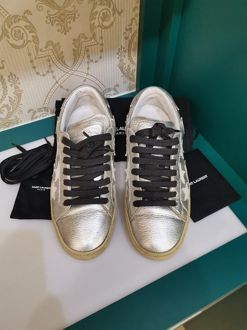 Ysl Saint Laurent Shoe Court Classic Star Leather Sneakers