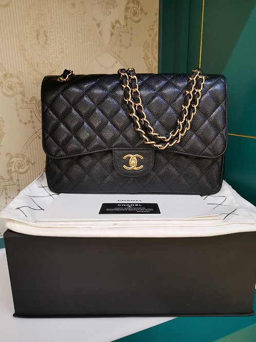 #16 LNIB Chanel Jumbo Classic Double Flap Black Caviar Black GHW (Cash S$7,980)