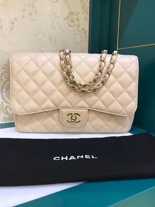 #13 Chanel Jumbo Classic Single Flap Beige Caviar GHW (Cash S$6,150)