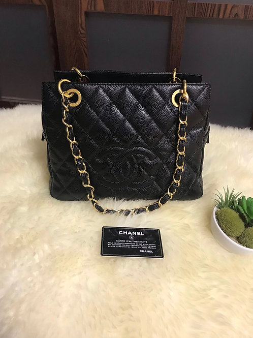 Like New Chanel PTT Petite Timeless Tote Caviar Black With Ghw