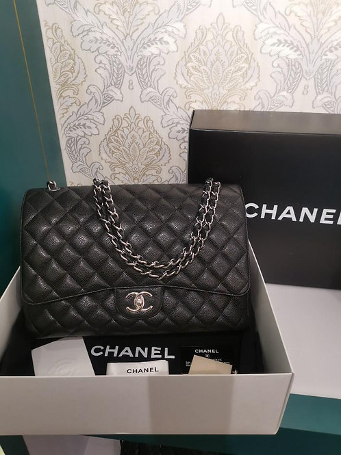 #14 Chanel Maxi Classic Double Flap Black Caviar with SHW