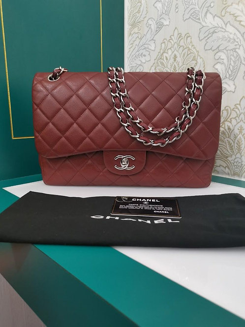 #18 Chanel Jumbo Classic Double Flap Dark Red Caviar SHW