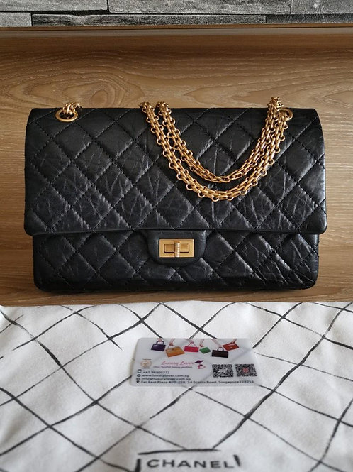 #19 Like New Chanel Reissue 2.55 226 Black Disdressed Calf with GHW