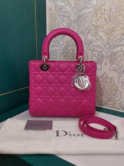 Brand New Lady Dior Medium Bubble Pink Lamb with SHW
